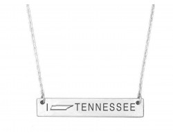 Silver Tennessee State Map Open Cut Bar Necklace