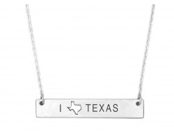 Silver Texas State Map Open Cut Bar Necklace