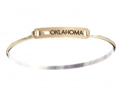 Gold I Love Oklahoma Map Open Cut Bar Bracelet