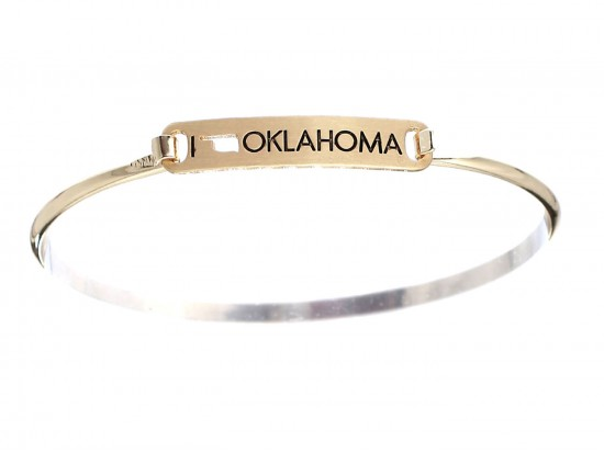 Gold I Love Oklahoma Map Open Cut Bar Bracelet