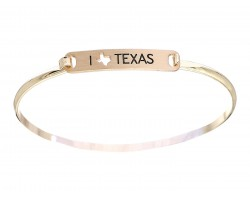 Gold I Love Texas Map Open Cut Bar Bracelet