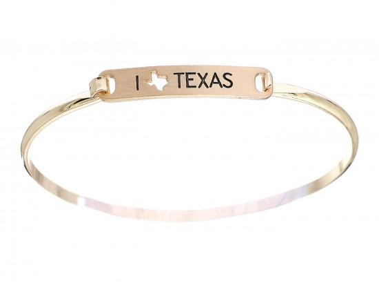 Gold I Love Texas Map Open Cut Bar Bracelet