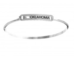 Silver I Love Oklahoma Map Open Cut Bar Bracelet