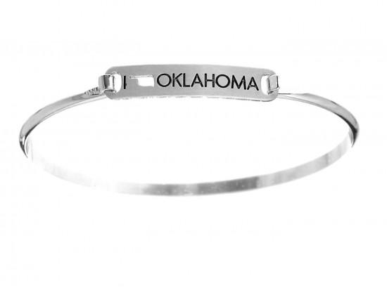 Silver I Love Oklahoma Map Open Cut Bar Bracelet