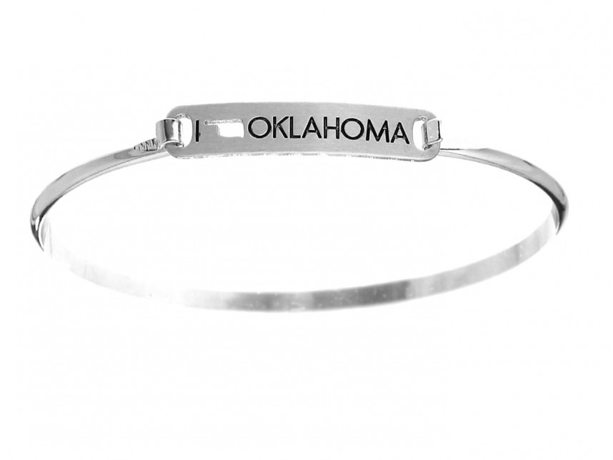 Silver I Love Oklahoma Map Open Cut Bar Bracelet Rm30377s Ok