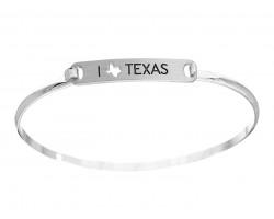 Silver I Love Texas Map Open Cut Bar Bracelet