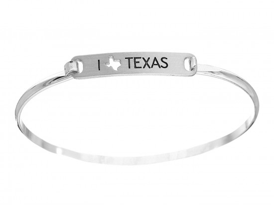 Silver I Love Texas Map Open Cut Bar Bracelet