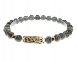 Black Natural Stone Blessed Bar Stretch Bracelet