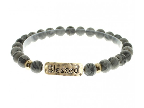 Black Natural Stone Blessed Bar Stretch Bracelet