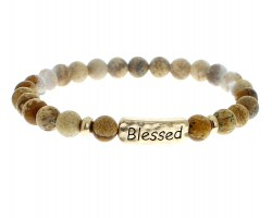Brown Natural Stone Blessed Bar Stretch Bracelet