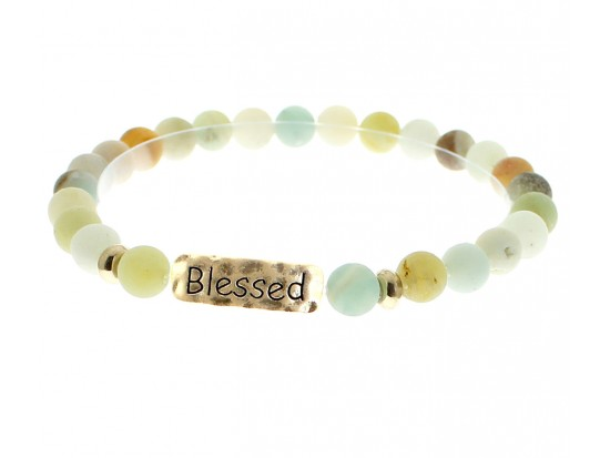 Green Natural Stone Blessed Bar Stretch Bracelet