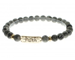 Black Natural Stone Faith Bar Stretch Bracelet