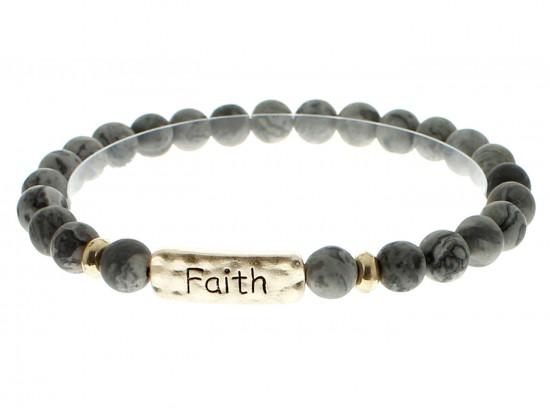 Black Natural Stone Faith Bar Stretch Bracelet