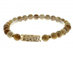 Brown Natural Stone Faith Bar Stretch Bracelet
