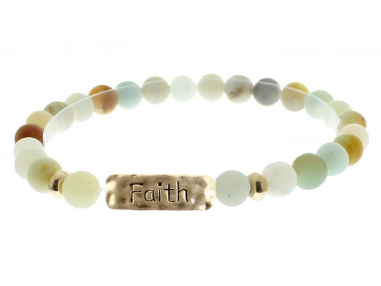 Green Natural Stone Faith Bar Stretch Bracelet