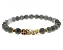 Black Natural Stone Love Bar Stretch Bracelet