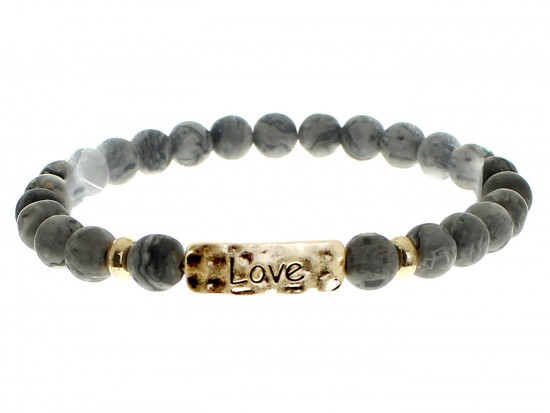 Black Natural Stone Love Bar Stretch Bracelet