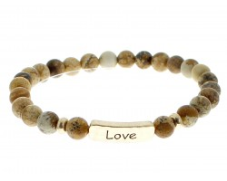 Brown Natural Stone Love Bar Stretch Bracelet