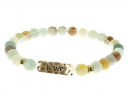 Green Natural Stone Love Bar Stretch Bracelet