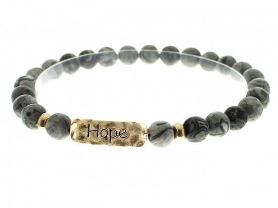 Black Natural Stone Hope Bar Stretch Bracelet
