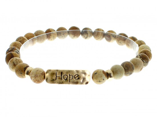 Brown Natural Stone Hope Bar Stretch Bracelet