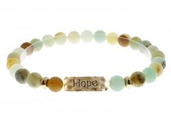 Green Natural Stone Hope Bar Stretch Bracelet