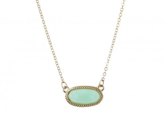 Aqua Oval Pendant Gold Edge Necklace