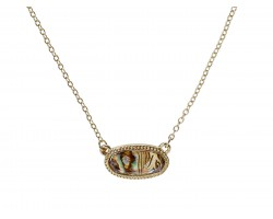 Beige Abalone Look Oval Pendant Gold Edge Necklace