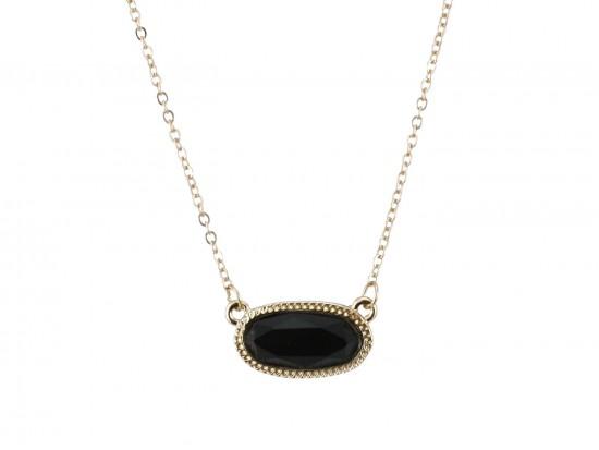 Black Oval Pendant Gold Edge Necklace