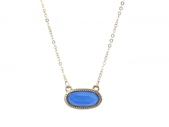 Blue Oval Pendant Gold Edge Necklace
