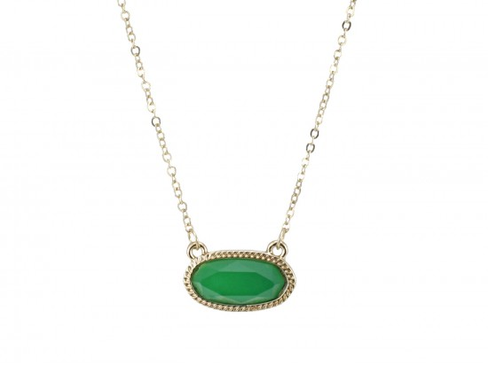 Green Oval Pendant Gold Edge Necklace
