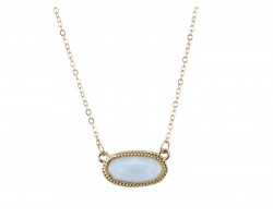 Light Blue Oval Pendant Gold Edge Necklace
