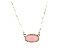 Light Pink Oval Pendant Gold Edge Necklace