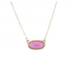 Pink Oval Pendant Gold Edge Necklace