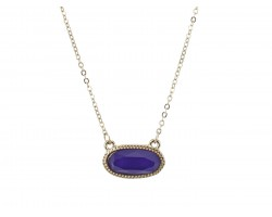 Purple Oval Pendant Gold Edge Necklace