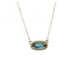 Abalone Look Oval Pendant Gold Edge Necklace