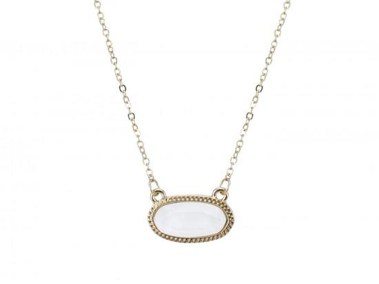White Oval Pendant Gold Edge Necklace