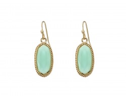 Aqua Oval Gold Edge Hook Earring