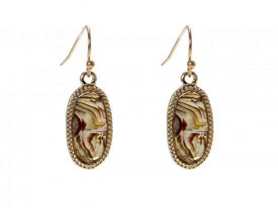 Brown Oval Gold Edge Hook Earrings