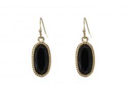 Black Oval Gold Edge Hook Earring