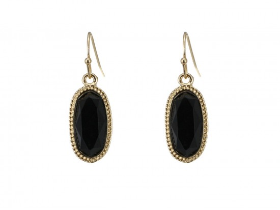 Black Oval Gold Edge Hook Earring