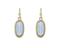 Light Blue Oval Gold Edge Hook Earring