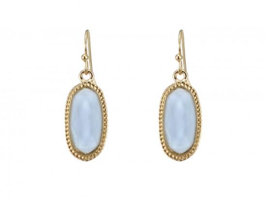 Light Blue Oval Gold Edge Hook Earring