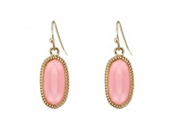 Light Pink Oval Gold Edge Hook Earrings