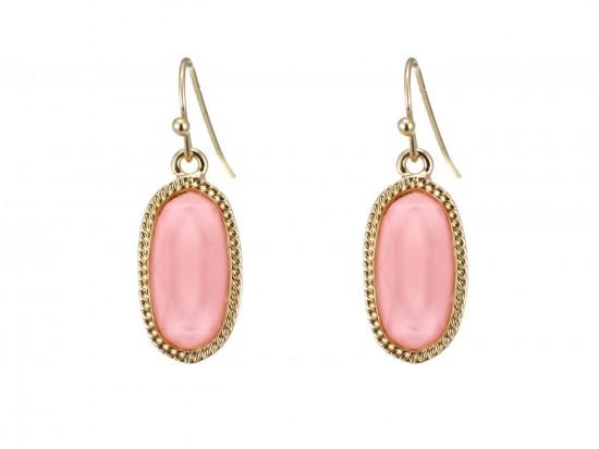 Light Pink Oval Gold Edge Hook Earrings