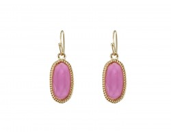 Pink Oval Gold Edge Hook Earring