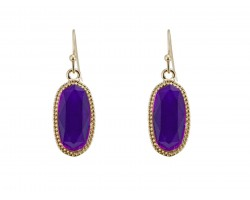 Purple Oval Gold Edge Hook Earring