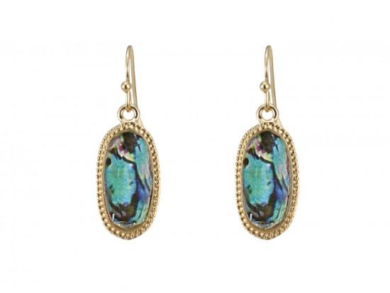 Multi Stone Oval Gold Edge Hook Earrings