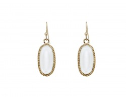 White Oval Gold Edge Hook Earring