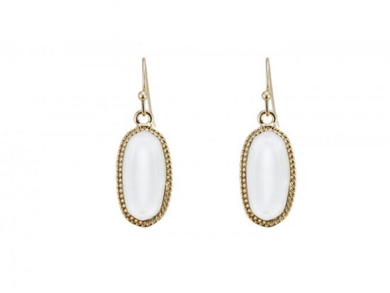 White Oval Gold Edge Hook Earring